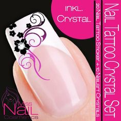 Nailart NAIL TATTOO Sticker Swarovski Crystal Set - Blossom / Ornament - Black / Lilac