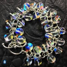 ♥ Stunning Smooth Irregular Multicolor Czech Crystal Plated Silver Bracelet
