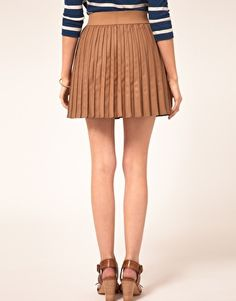 Oasis Faux Leather Pleat Skirt