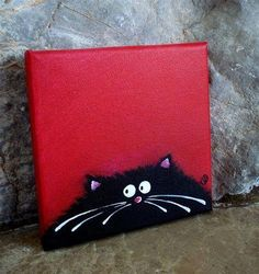Fat Cat Art on canvas 6 by 6 inches - Lucia Stewart Simple Oil Painting, Simple Acrylic Paintings, Mini Paintings, Animal Paintings, Painting & Drawing, Painting Videos, Mini Canvas Art, Diy Canvas, Wal Art