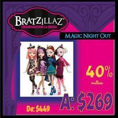 No dejes pasar la oportunidad de tener toda tu colección de Bratzillaz Magic Night Out  De $499 a sólo $269 pesos cada una, sólo en nuestra tienda en línea #Kichink http://bit.ly/QJerbO