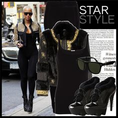 """Celebrity Style: Amber Rose"" by honibee ❤ liked on Polyvore"