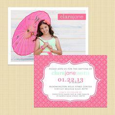 Custom two-sided Baptism Photo Invitation - Boy/Girl, printable (LDS, Catholic, Christian) - by LemonsThatArePink, $13