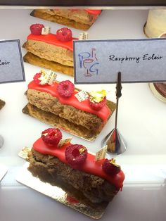 Traditional French éclairs are available at Pierrot Gourmet in blue, (blueberry), white (Bourbon vanilla) and red (raspberry), to represent the colors of the French flag through August 31, 2014.