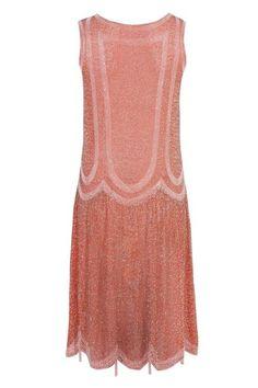 1920's Terracotta Pink Flapper Dress