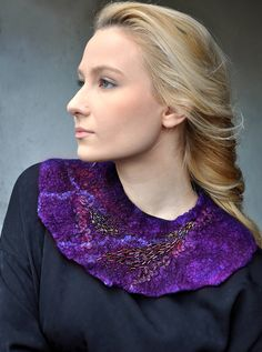 Hand felted Necklace Collar With Embroidery - Purple Violet Nuno Felt -- Wool Merino Beads Seed --- Art OOAK by ShellenD on Etsy
