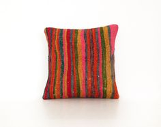 Wool Kilim Cushion Cover Ethnic Home Decor Old Pillows Authentic Pillow Throw Pillow Accent Turkish Kilim Bohemian Rustic striped 16''x16'' by artgrandhome on Etsy