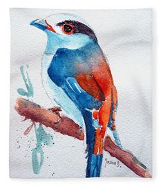 """Silver Breasted Broadbill  Fleece Blanket (50"""" x 60"""") by Jasna Dragun.  Our luxuriously soft throw blankets are available in two different sizes and feature incredible artwork on the top surface.  The bottom surface is white."""