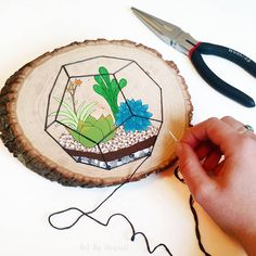 That moment when you put the last stitch into your terrarium sign..... Awwww yessss! 🌵🌱👌. Are you guys doing anything fun this weekend?! I may have been talked into another mountain biking ride... 😱😁🚵 remember to stay tuned for the moon sign collab auction that starts at 4pm EST today! 🌜🌟  #Regram via @artbysharell All You Need Is, Rustic Centerpieces, Last Stitch, That Moment When, Raw Wood, Wood Slices, Planks, String Art, Do Anything