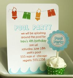 pool party invitation and cupcake toppers