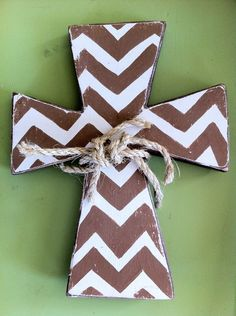 Wall Cross Wooden Hand Painted Chevron Cross by GinnyLinnyArt, $25.00