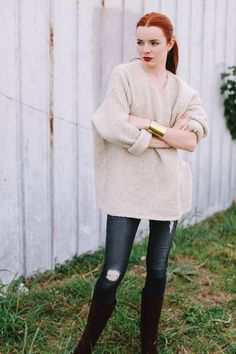 Chloe Boots & vintage DKNY sweater on Sea of Shoes