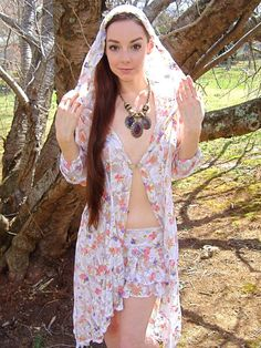 The Diana Lingerie White Floral Lace Robe Hoodie by Accentuates Clothing -  Bridal, boudoir, fairy couture, flower child