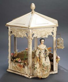 Rare Late-19th-Century Painted Tin Gazebo with Bird Cage,Possibly Unique