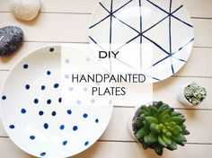 As a fresh start to 2016 I thought I would revive some plain tableware with a pop of colour. Blue is such a big colour in interior des. Painted Ceramic Plates, Hand Painted Ceramics, Ceramic Painting, White Interior Design, Diy Interior, Sculpture Art, Sculptures, Christmas Ideas, Indigo