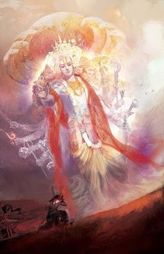 Hindu Art: Krishna show His universal form (Vishnu) to Arjuna Indian Gods, Indian Art, Shiva, Señor Krishna, Hanuman, Durga, Krishna Book, Lord Krishna Wallpapers, Lord Krishna Images
