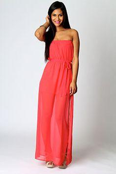 <3 Talia Bandeau Maxi Dress With Side Splits