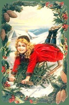 lovely sledding postcard.