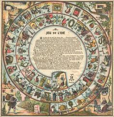 ANTIQUE FRENCH BOARD GAME JEU DE L'OIE GAME OF THE GOOSE SNAKES AND LADDERS