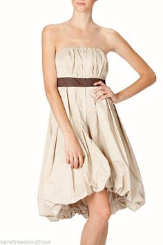 RYU Boutique Brown Strapless dress large bow bubble Hem S M L  #Ryu #Cocktail