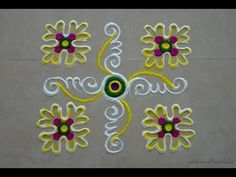 Daily rangoli design series #7   Easy, small and quick rangoli designs for beginners - YouTube