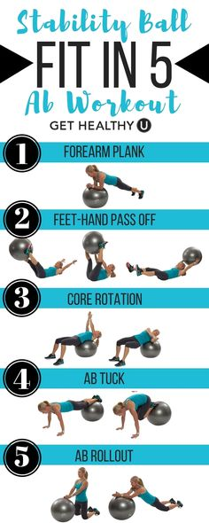 Fit in these 5 ab exercises to strengthen your core, and back using a stability ball to blast belly fat. Start with 1 round and aim to increase to 3 for a svelte waistline and strong abs. Try our free exercise library for more weight, medicine ball. Abdo Workout, Workout Bauch, Stability Ball Exercises, Ab Exercises, Swiss Ball Exercises, Core Stability, Exercises To Strengthen Core, Medicine Ball Exercises, Stomach Exercises