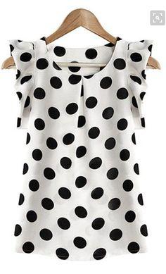 Women Casual Summer Chiffon Blouse Short Sleeve Shirts T-shirt Fashion Tops S-XL Chiffon Shirt, Chiffon Tops, Chiffon Blouses, White Chiffon, Sleeveless Tops, Chiffon Ruffle, Print Chiffon, Elegantes Outfit Damen, Polka Dot Shirt