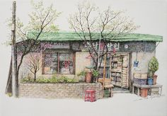 (Korea) A disappearing small store in a rural by Lee Me Kyeoung ). ink on paper with a pen use the acrylic. Korean Art, Asian Art, Background Drawing, Love Illustration, Environmental Art, Building Sketch, Installation Art, Cool Drawings, Art Pictures