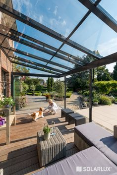Well protected by a terrace roof or a glass house the outdoor season can start earlier and end much later. Pergola Designs, Patio Design, Garden Design, Gazebo, Outdoor Living, Outdoor Decor, Patio Roof, House Extensions, Glass House