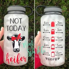 Not today heifer //heifer//Cow// motivational water bottle with hourly time tracker Easy Alcoholic Drinks, Drinks Alcohol Recipes, Mom Tumbler, Tumbler Cups, Boxed Water Is Better, Water Bottle Tracker, Heifer Cow, Vinyl Show, Cricut Craft Room