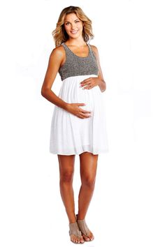 Racer Back Net And Gauze Maternity Dress by Maternal America | Maternity Clothes    Follow Due Maternity on Instagram www.instagram.com... BEST selection of Maternity clothes anywhere!
