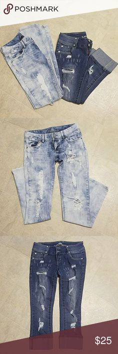 Almost Famous & Premier Jeans This genes are used  but they are so comfortable that you are not going to regret buying them, they look fantastic with that ripped leg design. Almost Famous Jeans Skinny