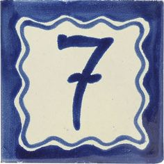 Street numbers from Mexico handmade of talavera tiles look great on the house exterior. They are decorative making locating a property easy. Painting Ceramic Tiles, Number 7, Hand Painted Ceramics, Wall Tiles, Symbols, Rustic, House Numbers, Handmade, Elegant