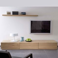 Oak Stonecut TV Cabinet Low