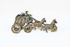 Awesome Figural Brooch Rhinestone Detailed Coach Carriage Four Horse Rig with Driver via Etsy