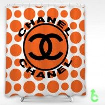 Chanel Black Logo Dot Orange Pattern Shower Curtain
