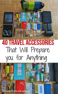 40 travel accessories that will prepare you for anything. Excellent travel tips and gear to get you ready for the unexpected. Grab more travel tips at Travel Blog, Travel Info, Packing Tips For Travel, Travel Advice, Travel Essentials, Time Travel, Travel Guide, Packing Lists, Travelling Tips