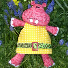 "Hilda is our cute little 60's style Hippo.  She is dressed up in her favourite mini dress, ready for go-go dancing! This pattern is suitable for all skill levels. Completed size:  Approximately 43cm (17"") tall Both physical and PDF patterns contain full step-by-step instructions and the full sized templates to create your own Hilda hippo."