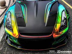Wild BenSopra Nissan GT R With Rainbow Vinyl Wrap