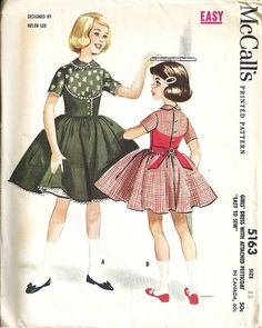 I like the way the bodice is a different fabric for Christmas dresses :)  50's McCall's 5163 Girls Dress Petticoat Vintage by patternmania, $9.95