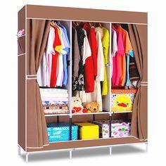House Scenery Non-woven folding fabric wardrobe storage metal portable closet clothes bedroom furniture wardrobe Fashion cabinet