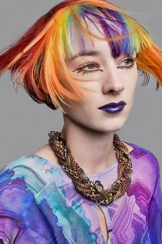 Short cropped multi-coloured hair by Fudge. Hair: Strangeways Artistic Team for Fudge Colour and Products: Fudge Photography: The LaRoache Brothers Clothes Styling: Karen Binns Makeup: Nadia Braz Hair Styles 2014, Hot Hair Styles, Short Hairstyles For Women, Cool Hairstyles, Pelo Multicolor, Crop Hair, Short Thin Hair, Hair Chalk, Coloured Hair