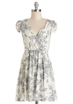 Around the Park Dress - Blue, Floral, Tan / Cream, Casual, A-line, Good, V Neck, Knit, Short, Cap Sleeves