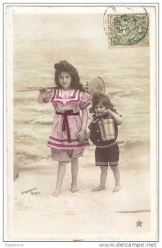 "Carte Postale Ancienne ""Mer, plage"" 1908 France."
