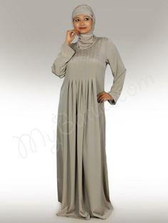 Beautiful Warm Grey Party Wear Abaya | MyBatua.com   Zulekha Abaya!    Style No: Ay-177   Shopping Link  : http://www.mybatua.com/zulekha-abaya   Available Sizes XS to 7XL (size chart: http://www.mybatua.com/size-chart/#ABAYA/JILBAB)   •Round neck with box pleats in the front •Fabric: Crepe (polyester) •Care: Dry Clean