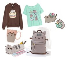"""""""back to school"""" by lolokokomido ❤ liked on Polyvore featuring Pusheen, contestentry and PVxPusheen"""