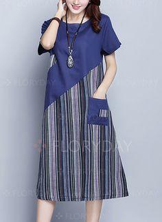 Dress - $42.99 - Cotton Stripe Short Sleeve Midi Shift Dress (1955261721)