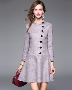 #AdoreWe VIPme (VIPSHOP Global) Womens - Qeexi - Stand Collar Buttoned Gray Suede Skater Mini Dress - AdoreWe.com