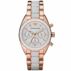 Emporio Armani Gold Womens Chronograph Rose Gold Plated Stainless Steel and White Silicone Bracelet Emporio Armani, Armani Watches For Men, Ladies Watches, Wrist Watches, Sporty Watch, Silicone Bracelets, Beautiful Watches, Rose Gold Plates, Gold Watch