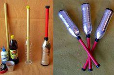 Mazas de malabares con materiales reciclados - http://www.manualidadeson.com/mazas-de-malabares-con-materiales-reciclados.html
